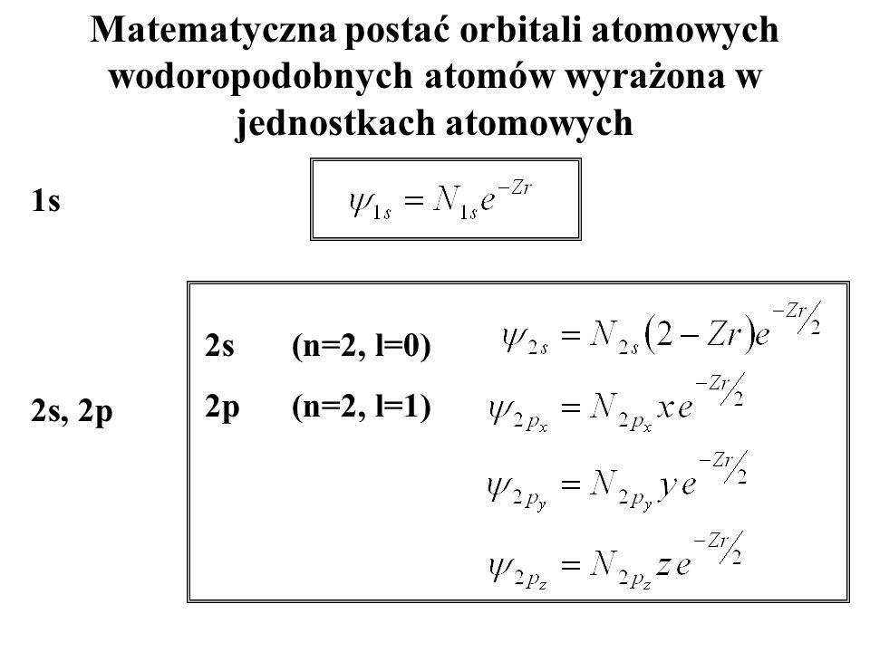 Matematyczna postać orbitali atomowych wodoropodobnych atomów wyrażona w jednostkach atomowych