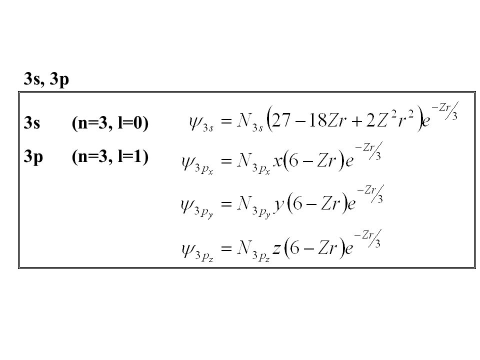 3s, 3p 3s (n=3, l=0) 3p (n=3, l=1)