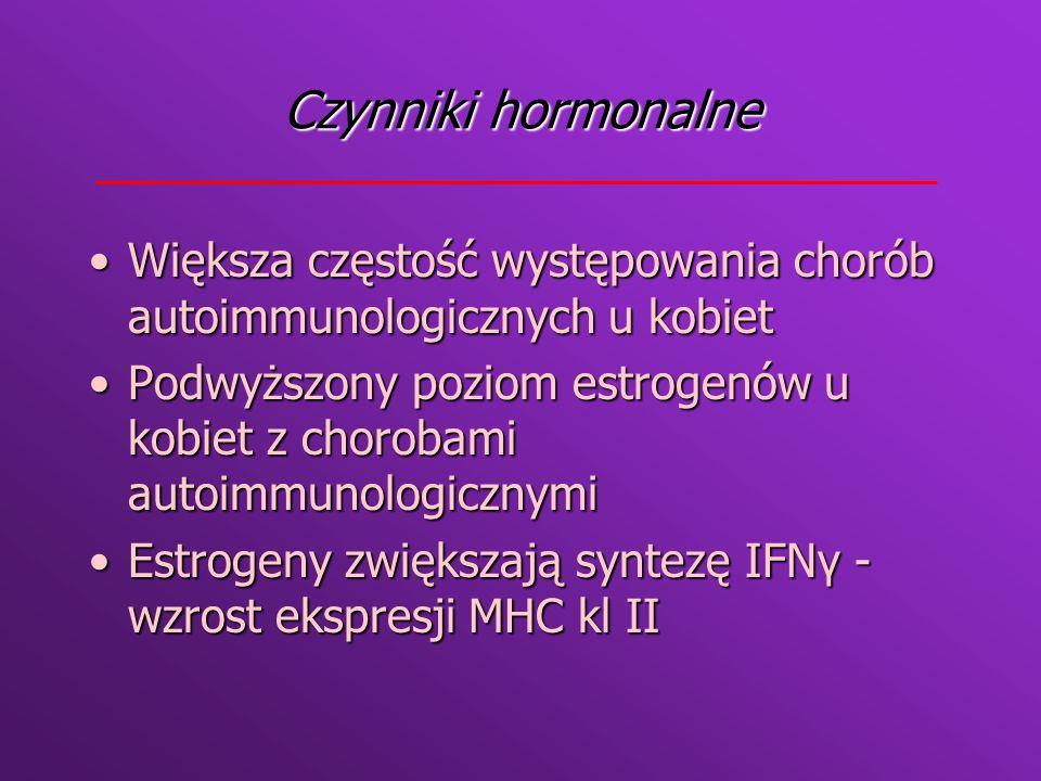 Czynniki hormonalne Większa częstość występowania chorób autoimmunologicznych u kobiet.