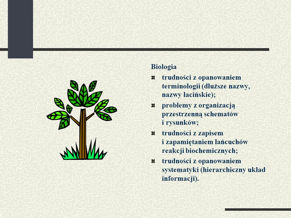 Biologiatrudności z opanowaniem terminologii (dłuższe nazwy, nazwy łacińskie);