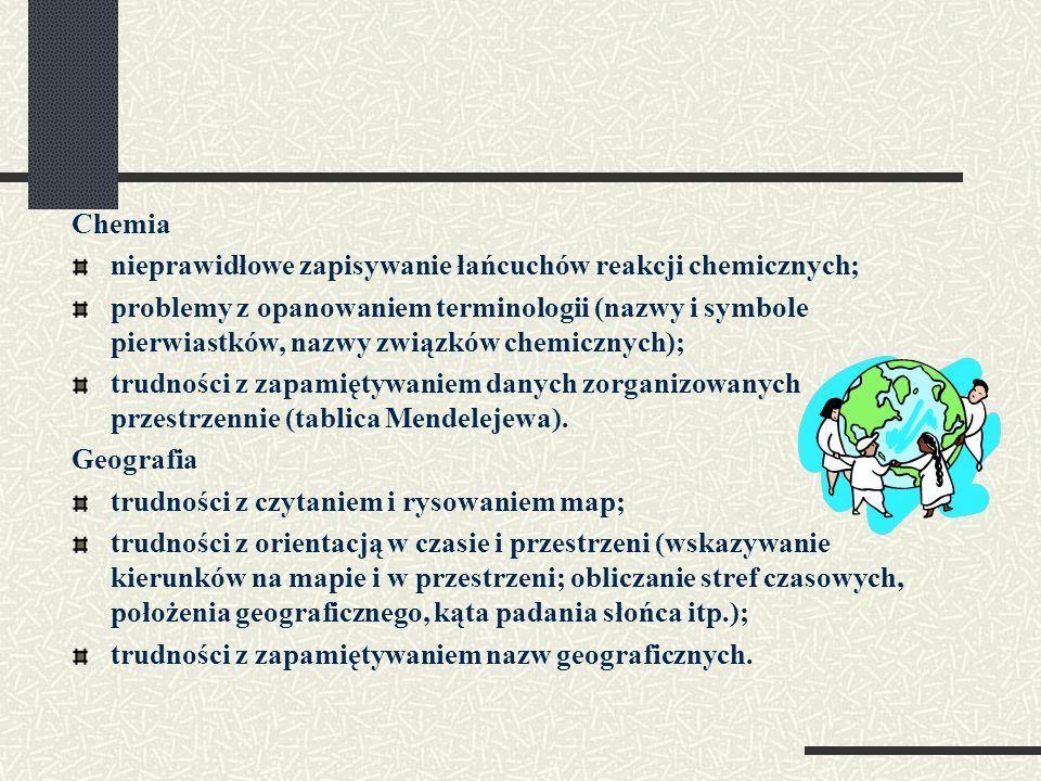 Chemianieprawidłowe zapisywanie łańcuchów reakcji chemicznych;