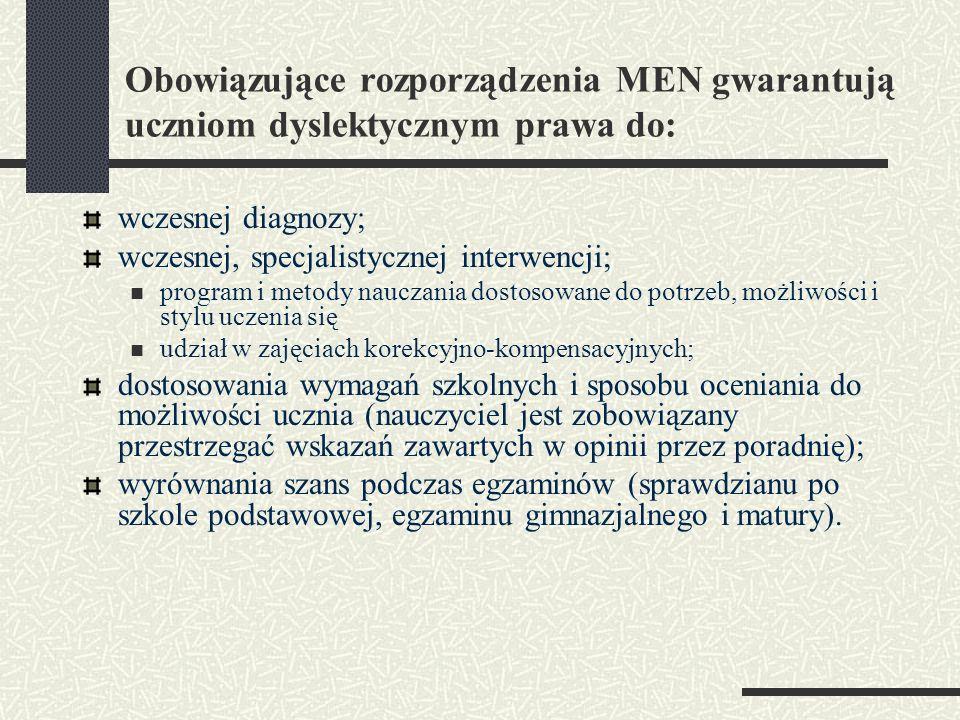 Obowiązujące rozporządzenia MEN gwarantują uczniom dyslektycznym prawa do: