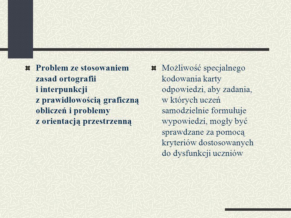 Problem ze stosowaniem zasad ortografii i interpunkcji z prawidłowością graficzną obliczeń i problemy z orientacją przestrzenną