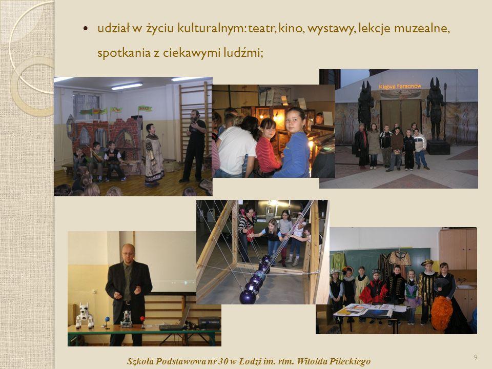 udział w życiu kulturalnym: teatr, kino, wystawy, lekcje muzealne, spotkania z ciekawymi ludźmi;