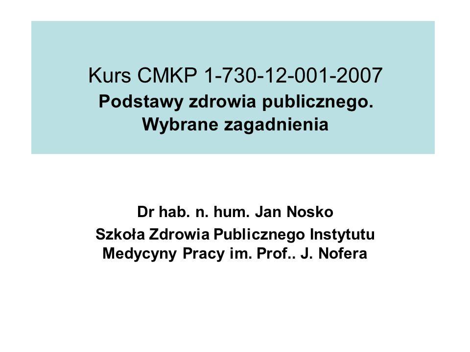 Kurs CMKP 1-730-12-001-2007 Podstawy zdrowia publicznego