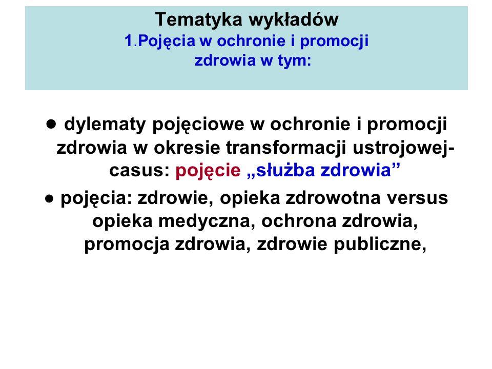 Tematyka wykładów 1.Pojęcia w ochronie i promocji zdrowia w tym: