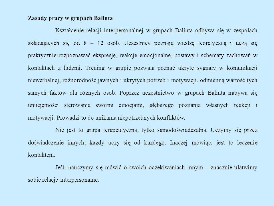 Zasady pracy w grupach Balinta