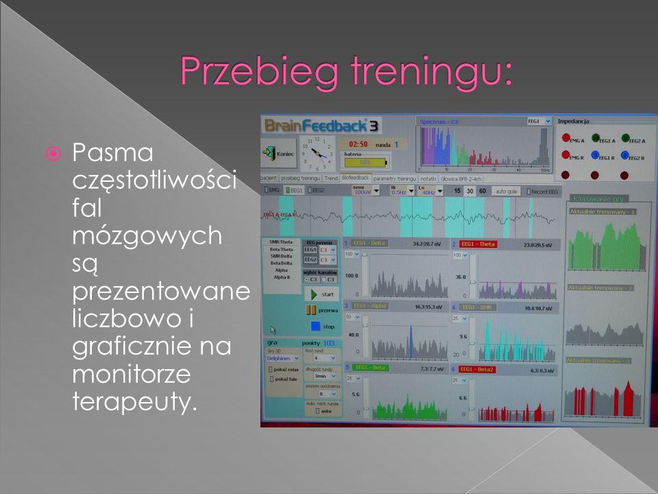 Pasma częstotliwości fal mózgowych są prezentowane liczbowo i graficznie na monitorze terapeuty.