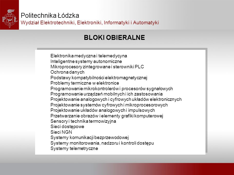 Politechnika Łódzka BLOKI OBIERALNE