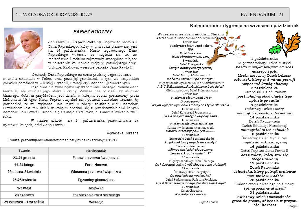 Kalendarium z dygresją na wrzesień i październik PAPIEŻ RODZINY