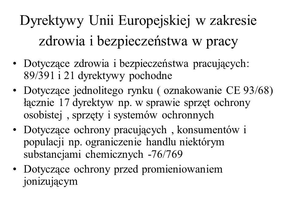 Dyrektywy Unii Europejskiej w zakresie zdrowia i bezpieczeństwa w pracy