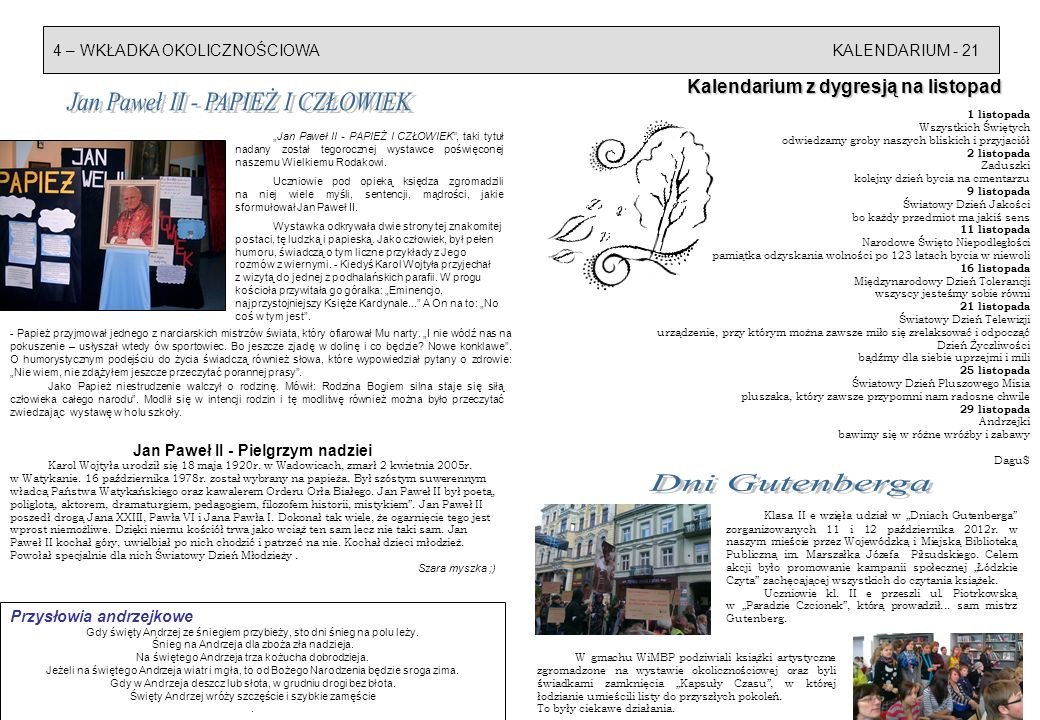 Kalendarium z dygresją na listopad Jan Paweł II - Pielgrzym nadziei
