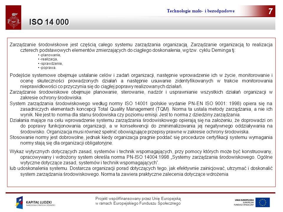 7 ISO 14 000 Technologie mało- i bezodpadowe