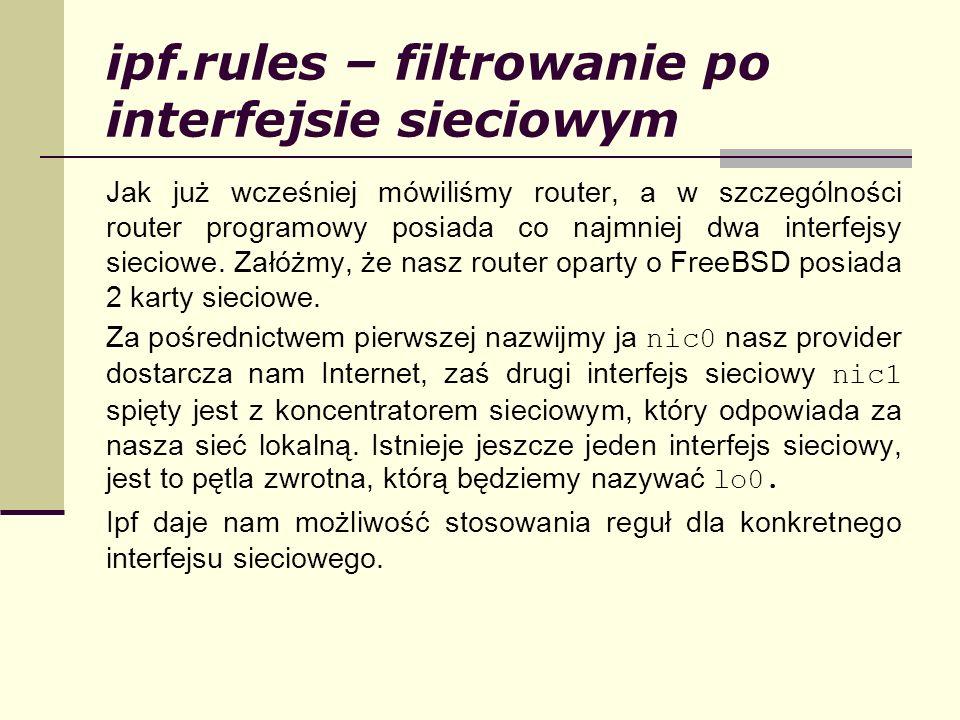 ipf.rules – filtrowanie po interfejsie sieciowym