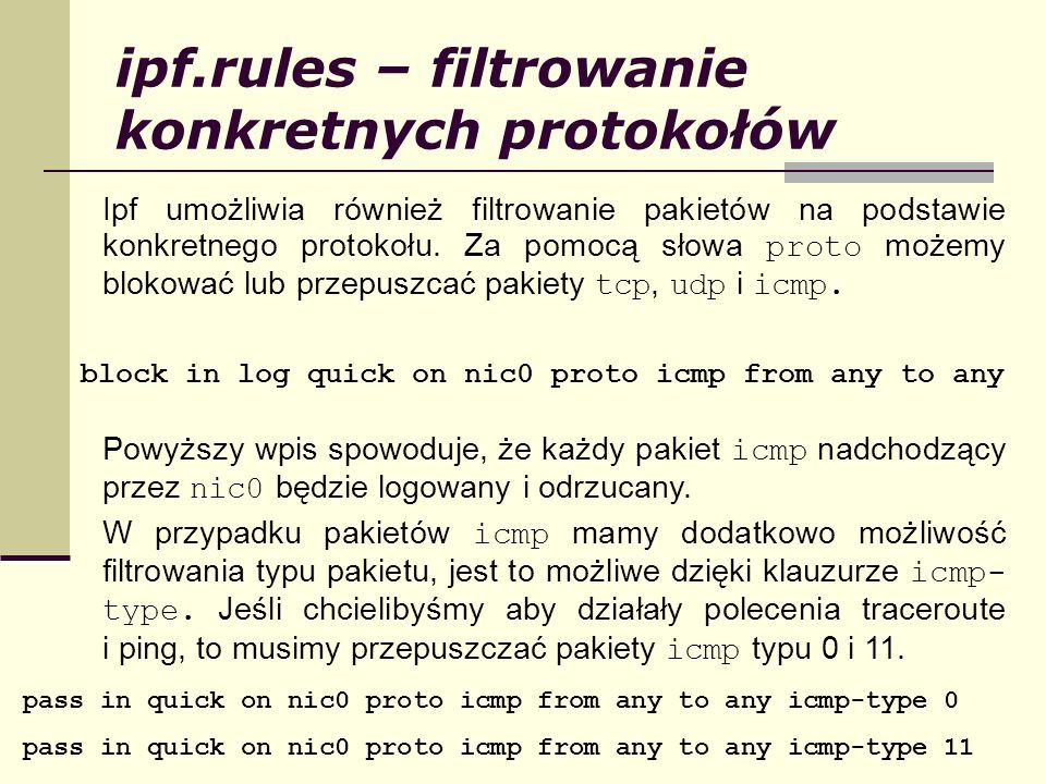 ipf.rules – filtrowanie konkretnych protokołów