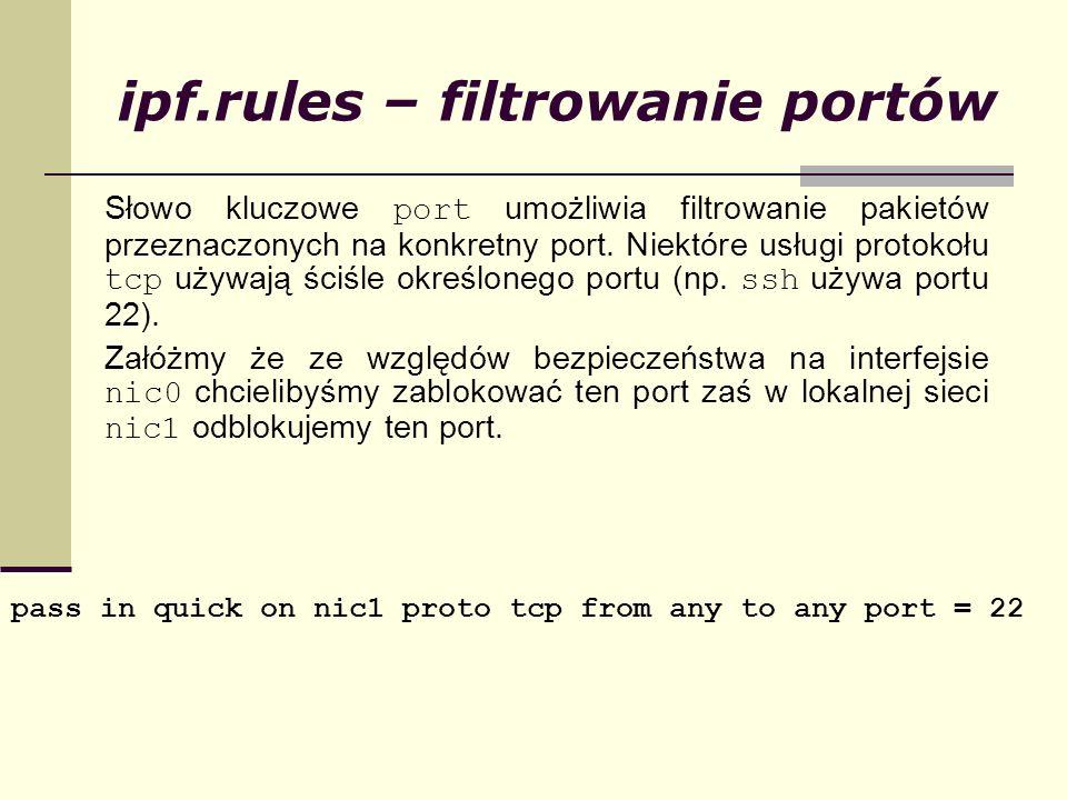 ipf.rules – filtrowanie portów
