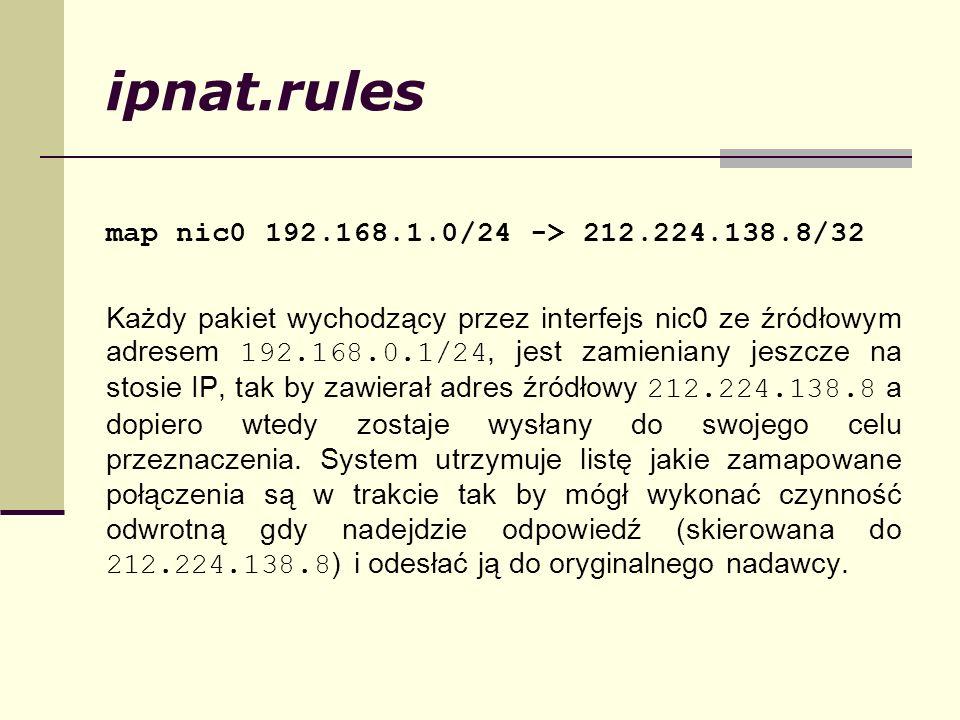 ipnat.rules map nic0 192.168.1.0/24 -> 212.224.138.8/32