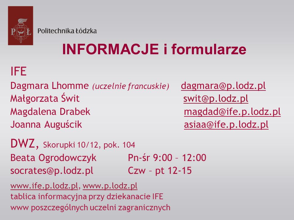 INFORMACJE i formularze