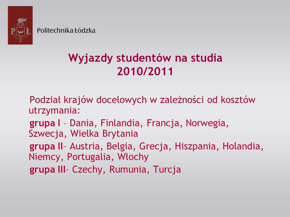 Wyjazdy studentów na studia 2010/2011