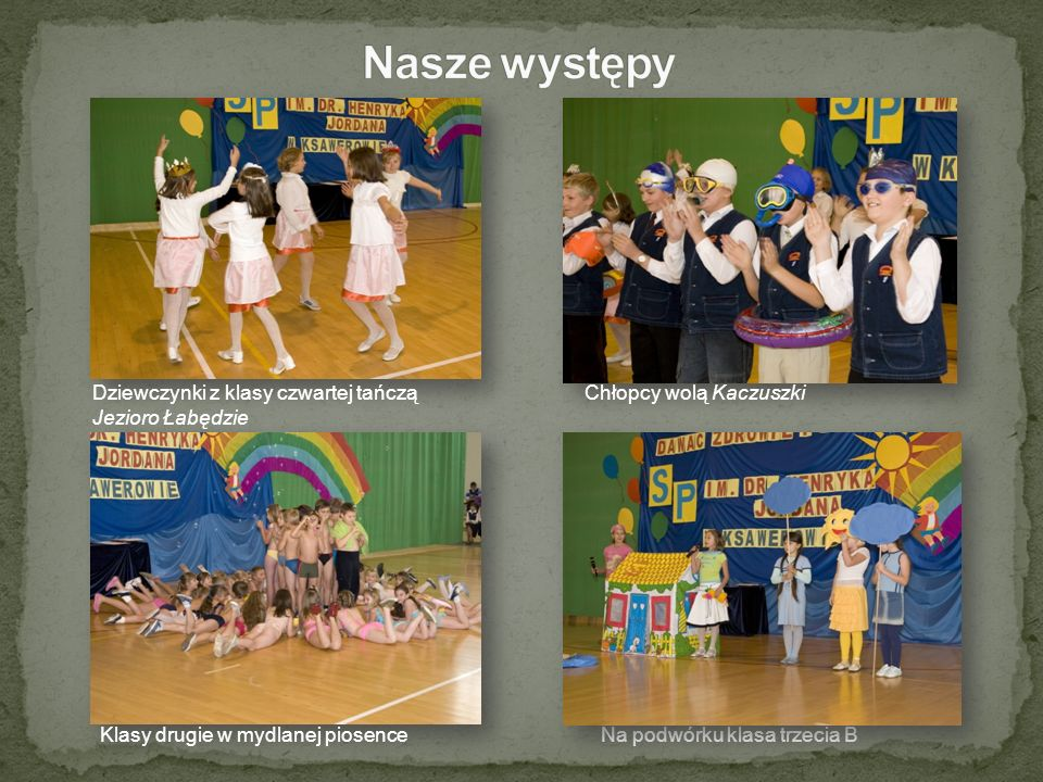 Nasze występy Dziewczynki z klasy czwartej tańczą Chłopcy wolą Kaczuszki.