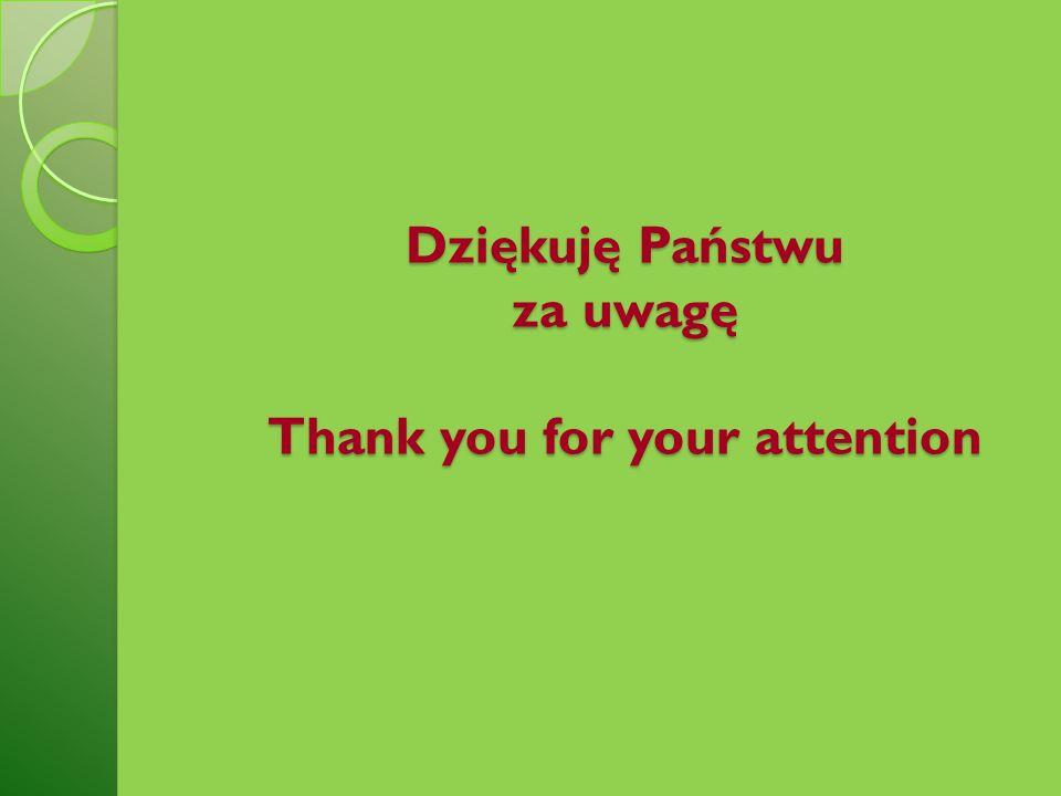 Dziękuję Państwu za uwagę Thank you for your attention