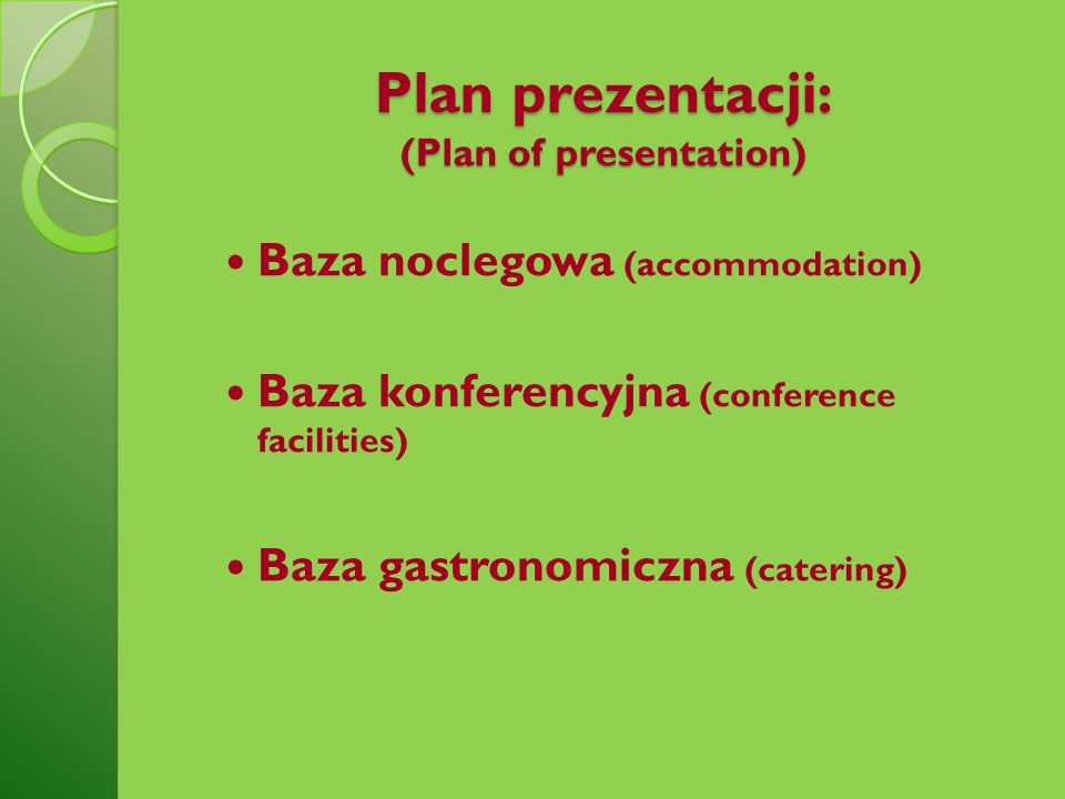 Plan prezentacji: (Plan of presentation)