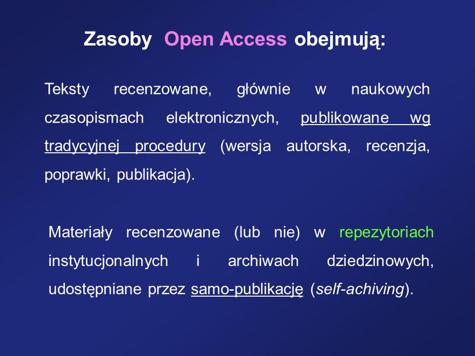 Zasoby Open Access obejmują: