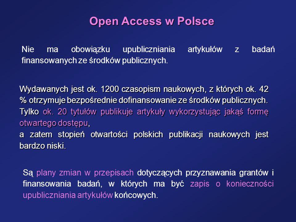 Open Access w Polsce Nie ma obowiązku upubliczniania artykułów z badań finansowanych ze środków publicznych.