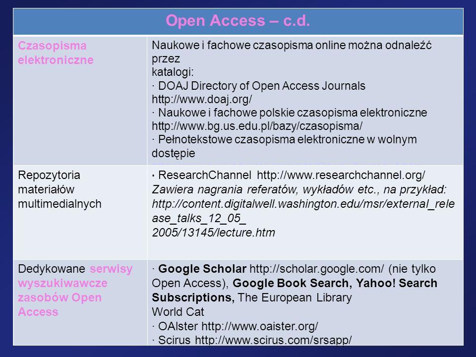 Open Access – c.d. Czasopisma elektroniczne Repozytoria materiałów