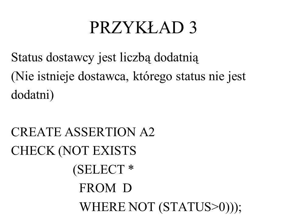 PRZYKŁAD 3 Status dostawcy jest liczbą dodatnią