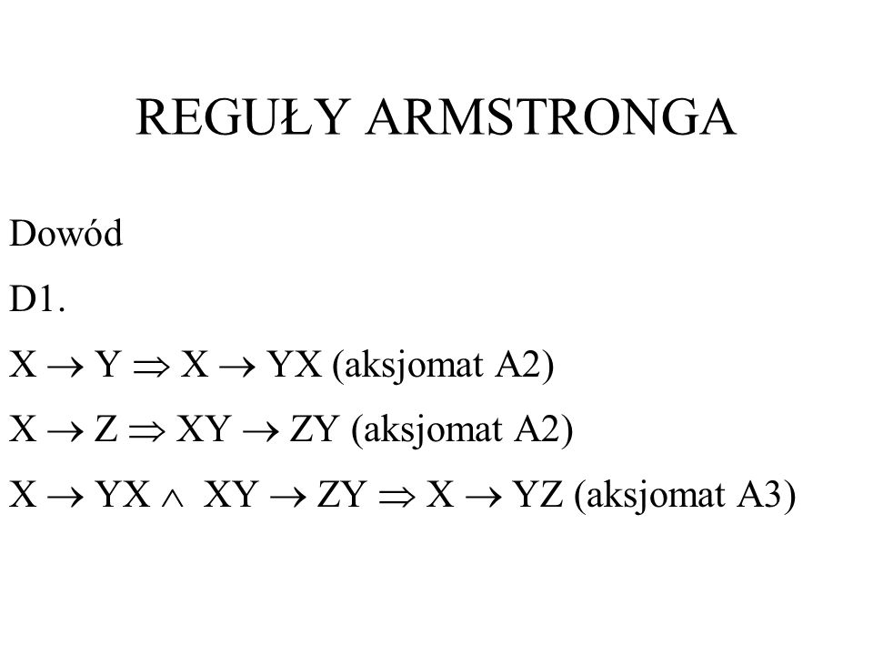 REGUŁY ARMSTRONGA Dowód D1. X  Y  X  YX (aksjomat A2)