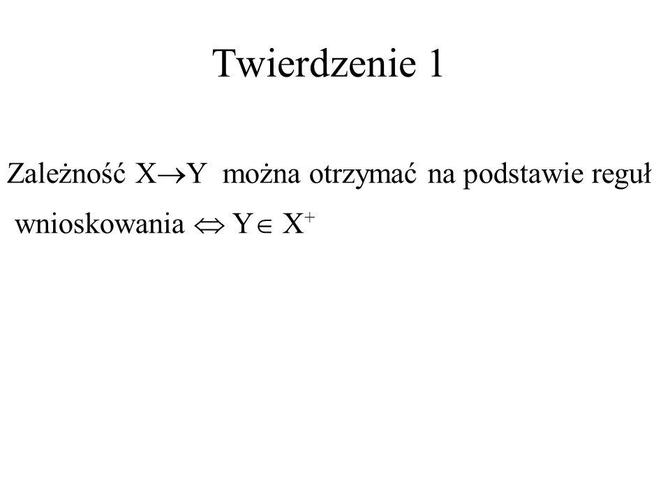 Twierdzenie 1 Zależność XY można otrzymać na podstawie reguł