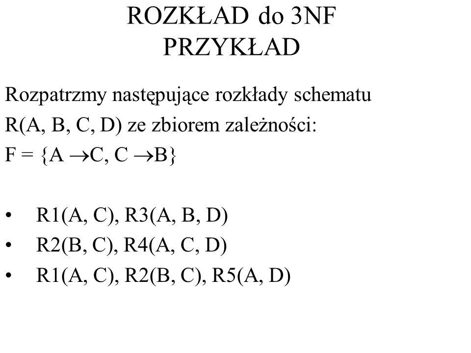ROZKŁAD do 3NF PRZYKŁAD Rozpatrzmy następujące rozkłady schematu
