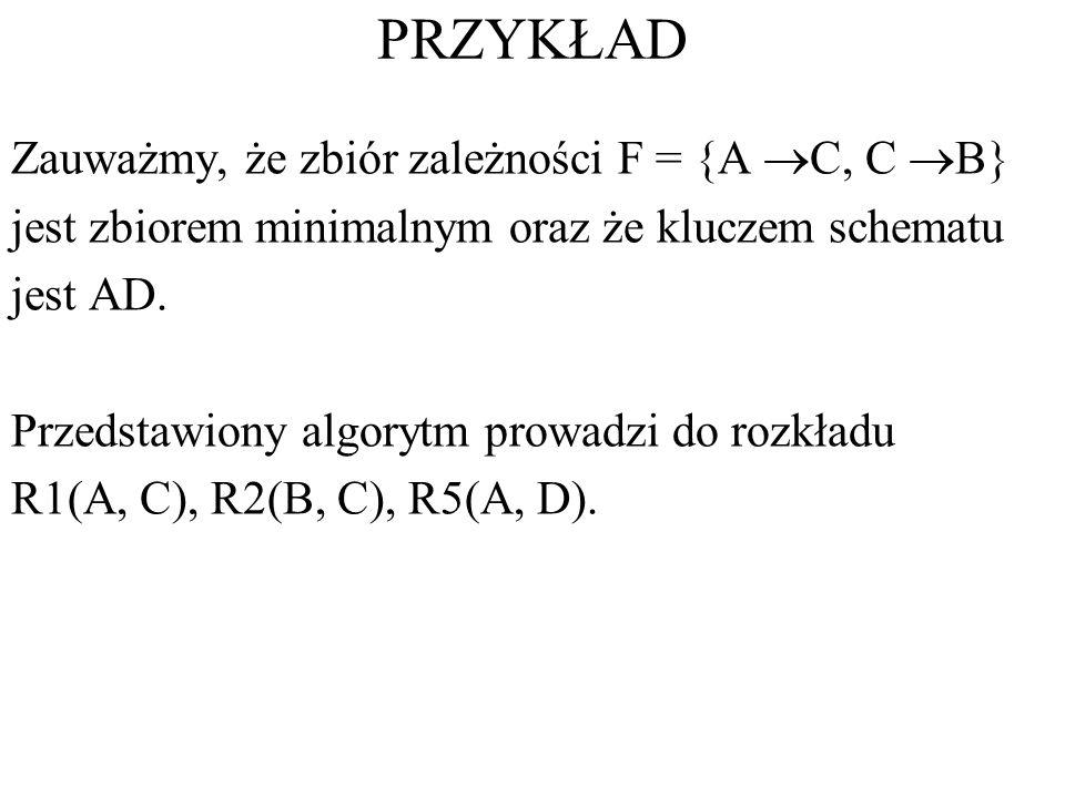 PRZYKŁAD Zauważmy, że zbiór zależności F = {A C, C B}
