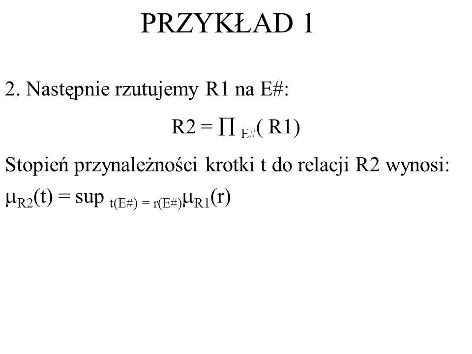 PRZYKŁAD 1 2. Następnie rzutujemy R1 na E#: R2 =  E#( R1)