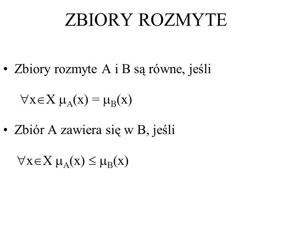 ZBIORY ROZMYTE Zbiory rozmyte A i B są równe, jeśli xX A(x) = B(x)