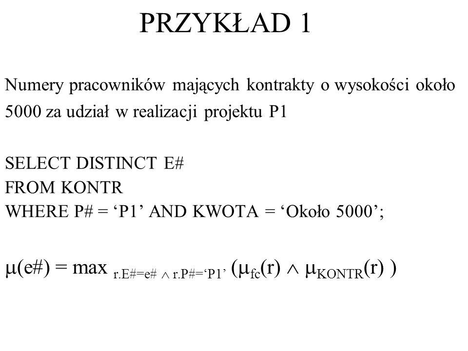 PRZYKŁAD 1 (e#) = max r.E#=e#  r.P#='P1' (fc(r)  KONTR(r) )