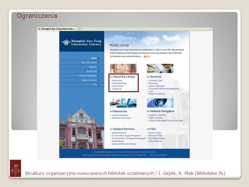 Ograniczenia Struktury organizacyjne nowoczesnych bibliotek uczelnianych / I.