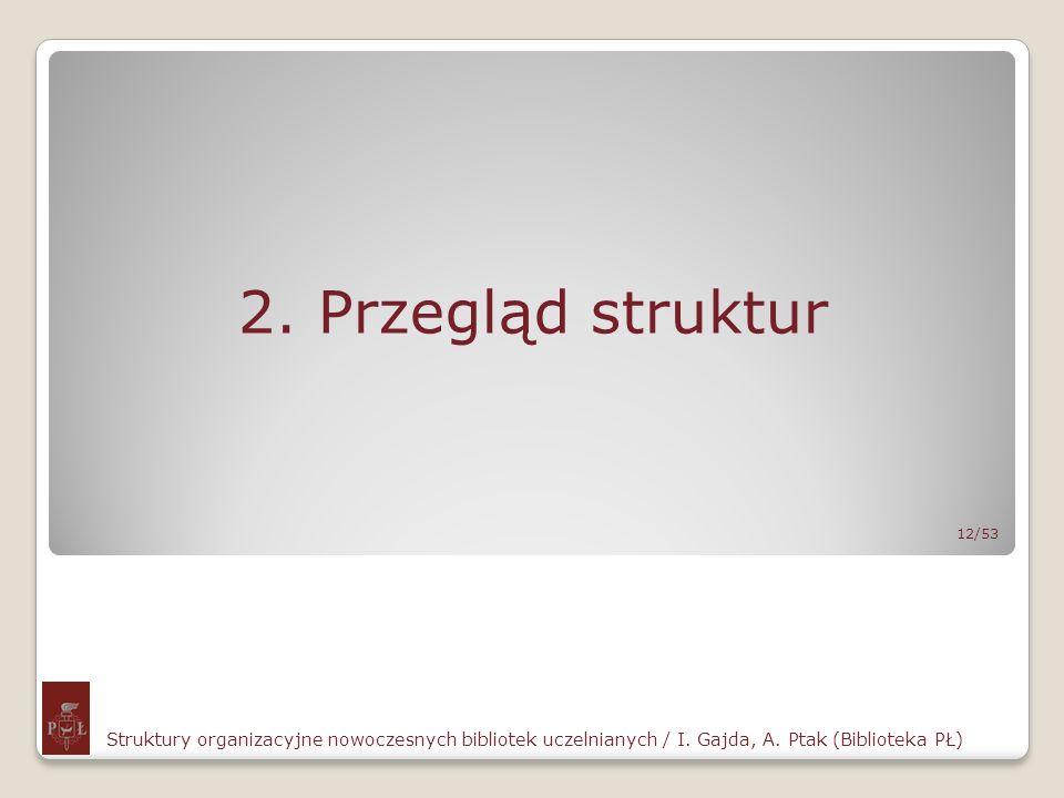 2. Przegląd struktur 12/53. Struktury organizacyjne nowoczesnych bibliotek uczelnianych / I.