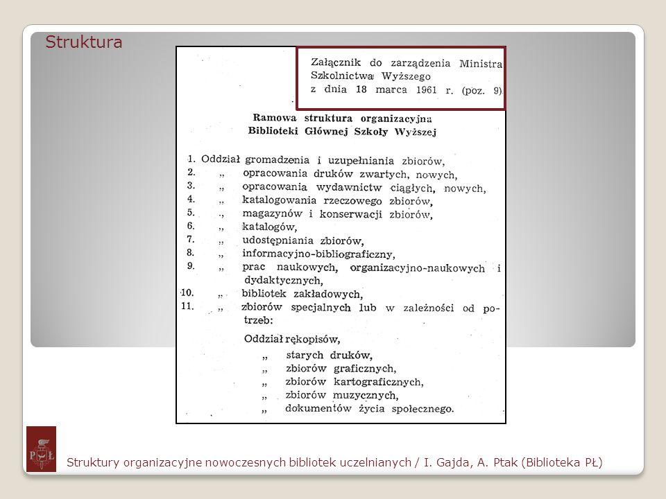 StrukturaStruktury organizacyjne nowoczesnych bibliotek uczelnianych / I.