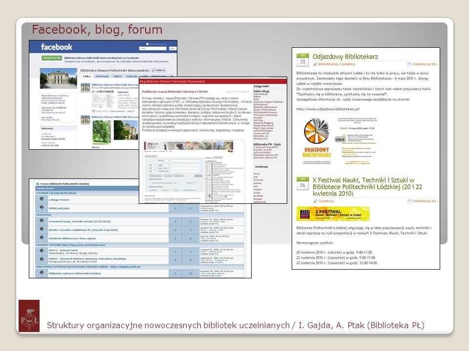Facebook, blog, forumStruktury organizacyjne nowoczesnych bibliotek uczelnianych / I. Gajda, A. Ptak (Biblioteka PŁ)