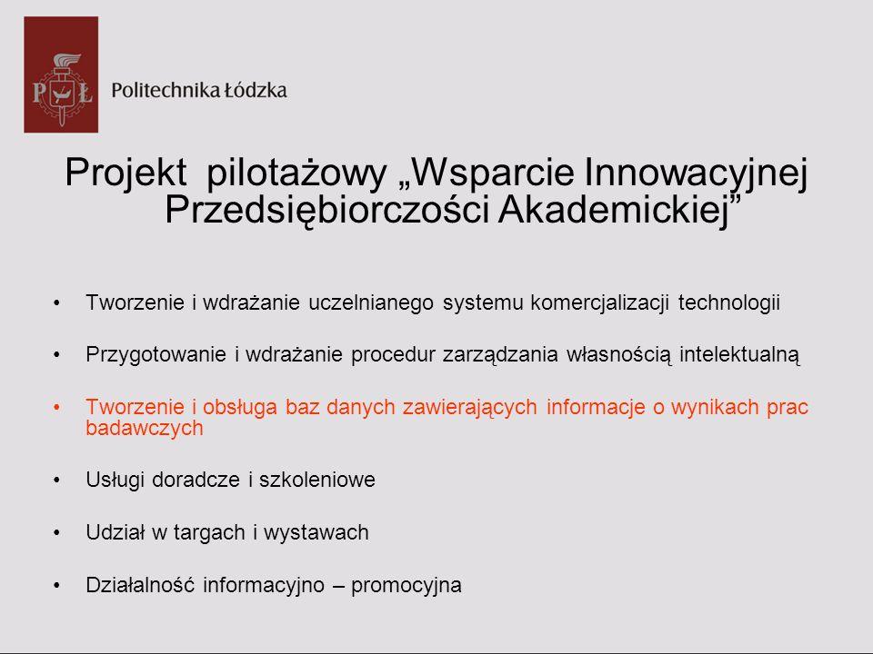 """Projekt pilotażowy """"Wsparcie Innowacyjnej Przedsiębiorczości Akademickiej"""