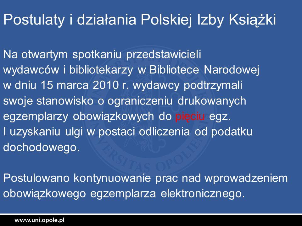 Postulaty i działania Polskiej Izby Książki