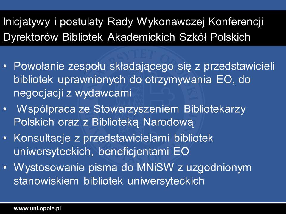 Inicjatywy i postulaty Rady Wykonawczej Konferencji Dyrektorów Bibliotek Akademickich Szkół Polskich