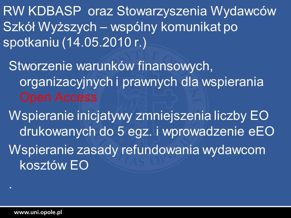RW KDBASP oraz Stowarzyszenia Wydawców Szkół Wyższych – wspólny komunikat po spotkaniu (14.05.2010 r.)