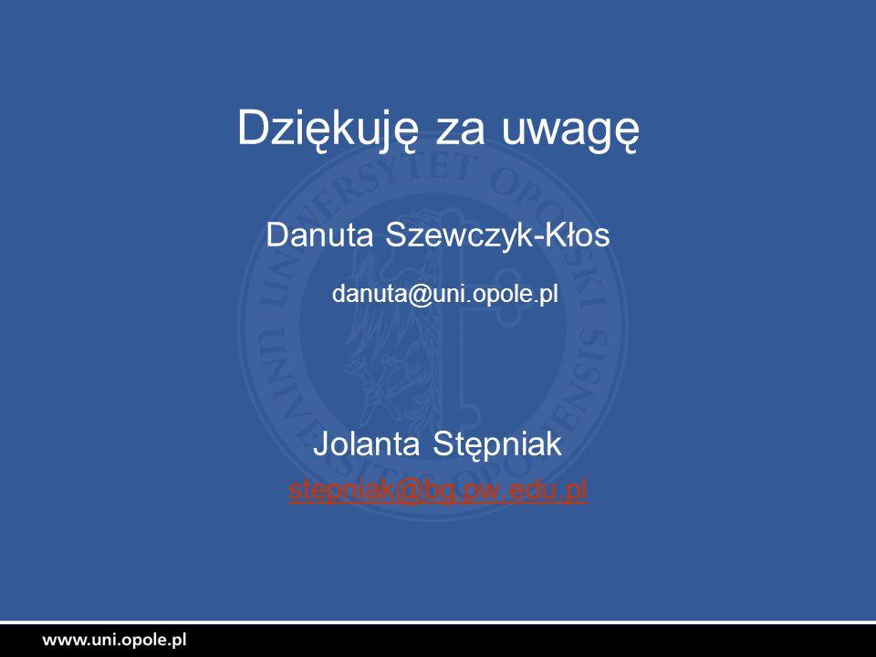 Dziękuję za uwagę Danuta Szewczyk-Kłos danuta@uni.opole.pl