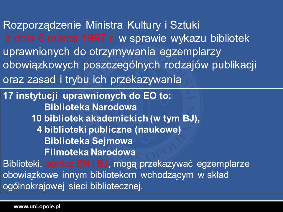 Rozporządzenie Ministra Kultury i Sztuki z dnia 6 marca 1997 r