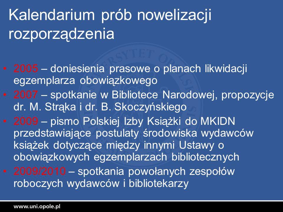 Kalendarium prób nowelizacji rozporządzenia