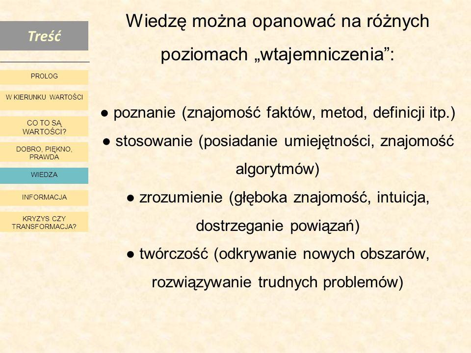 """Wiedzę można opanować na różnych poziomach """"wtajemniczenia : ● poznanie (znajomość faktów, metod, definicji itp.) ● stosowanie (posiadanie umiejętności, znajomość algorytmów) ● zrozumienie (głęboka znajomość, intuicja, dostrzeganie powiązań) ● twórczość (odkrywanie nowych obszarów, rozwiązywanie trudnych problemów)"""