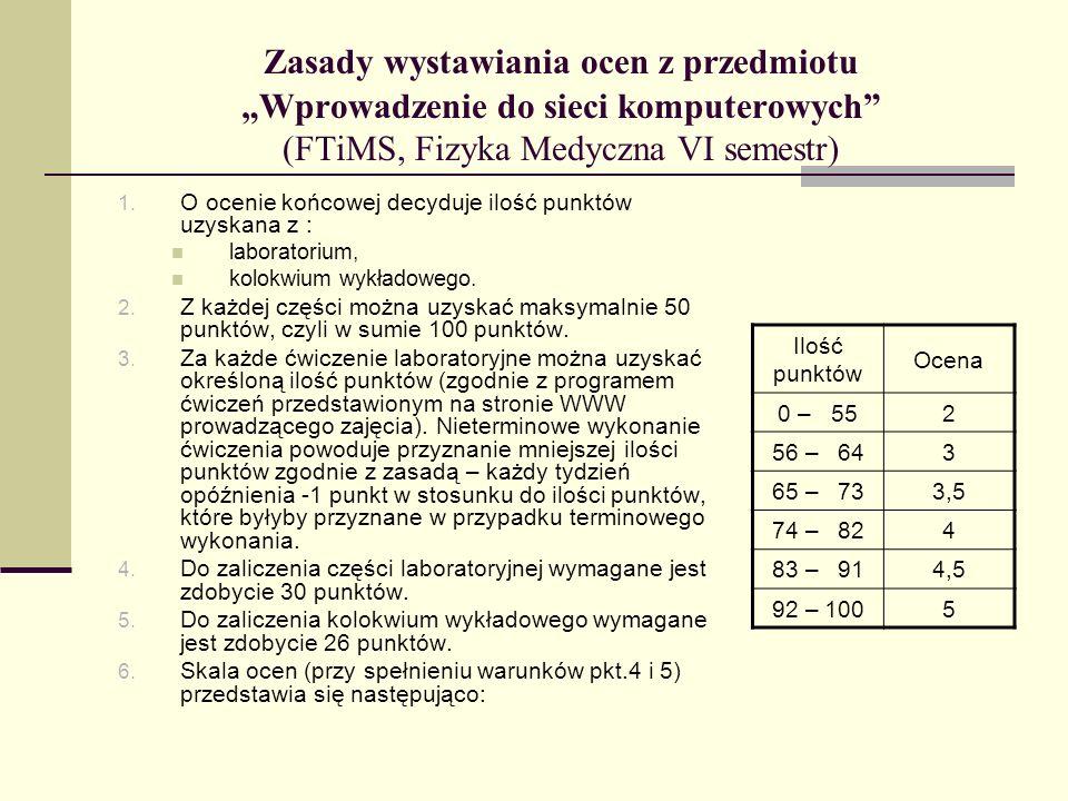 """Zasady wystawiania ocen z przedmiotu """"Wprowadzenie do sieci komputerowych (FTiMS, Fizyka Medyczna VI semestr)"""